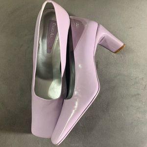 Enzo Angiolini Lavender Heels Square Toe Block